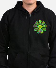 Cool Flower Power Zip Hoodie (dark)