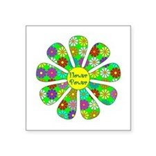 "Cool Flower Power Square Sticker 3"" x 3"""