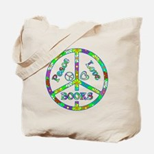 Peace Love Books Tote Bag