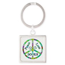 Peace Love Books Square Keychain
