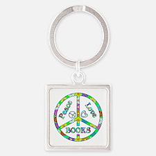 Peace Love Books Square Keychain