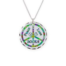 Peace Love Books Necklace Circle Charm