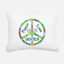 Peace Love Books Rectangular Canvas Pillow
