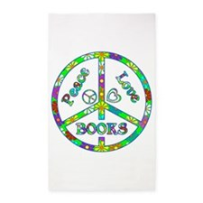 Peace Love Books 3'x5' Area Rug