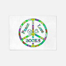 Peace Love Books 5'x7'Area Rug