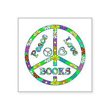 """Peace Love Books Square Sticker 3"""" x 3"""""""