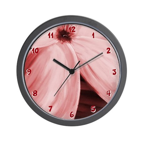 Contemporary Pink Flower Bloom Wall Clock