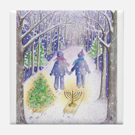 Chrismukkah Holiday Sleds Tile Coaster