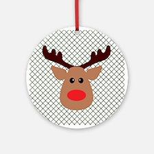 Cartoon Reindeer on Green Ornament (Round)