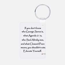 Educate Yourself Aluminum Photo Keychain