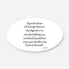 Educate Yourself Oval Car Magnet