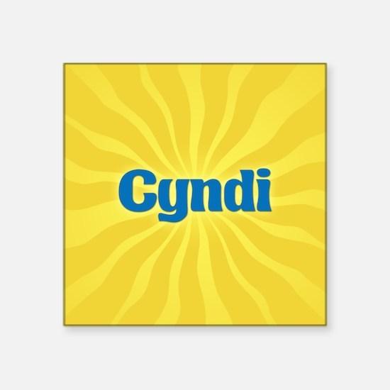 "Cyndi Sunburst Square Sticker 3"" x 3"""