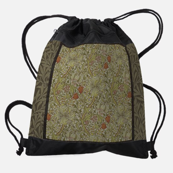 William Morris Floral lily willow a Drawstring Bag