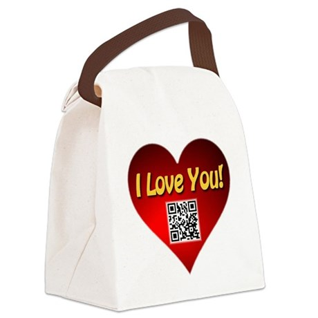 I Love You Magic Heart Canvas Lunch Bag
