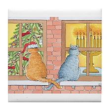 Chrismukkah Curious Cats Tile Coaster