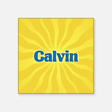"Calvin Sunburst Square Sticker 3"" x 3"""