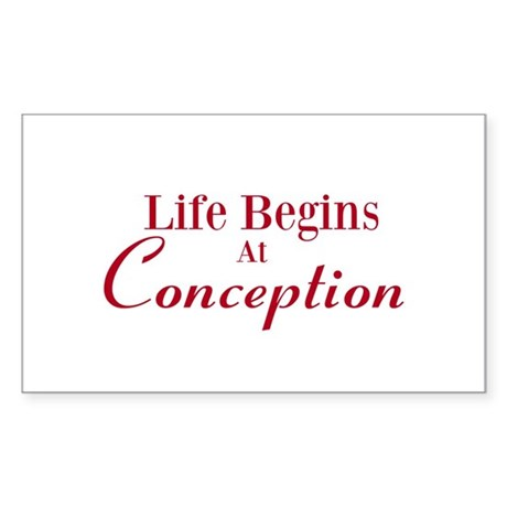Life begins at conception gifts Sticker (Rectangle