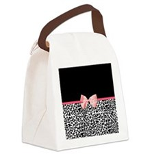 Leopard Pattern Pink Ribbon Canvas Lunch Bag