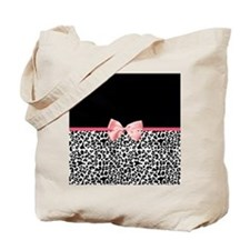 Leopard Pattern Pink Ribbon Tote Bag
