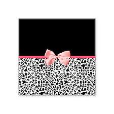 """Leopard Pattern Pink Ribbon Square Sticker 3"""" x 3"""""""