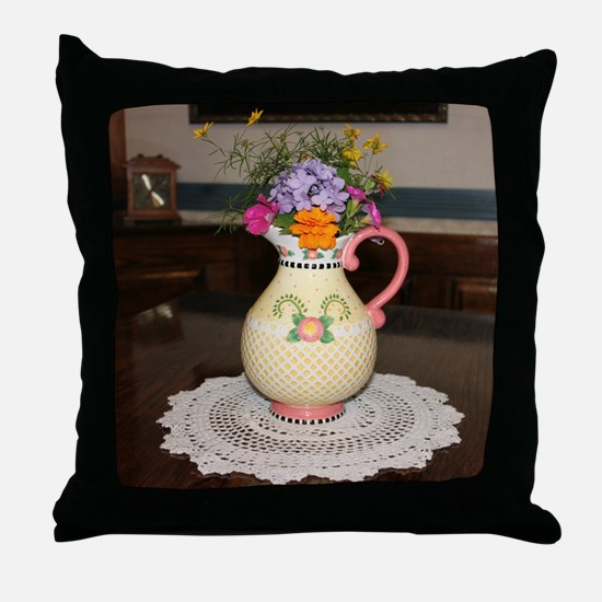Mary Engelbreit Pitcher with Flowers Throw Pillow