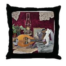 Valentine Teddy Bears and Mandolin Throw Pillow