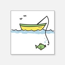 "Fishing Boat Square Sticker 3"" x 3"""