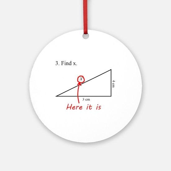 Find x Math Problem Ornament (Round)