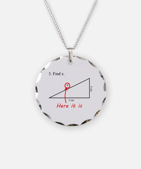 Find x Math Problem Necklace Circle Charm