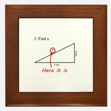 Find x Math Problem Framed Tile