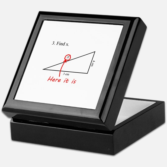 Find x Math Problem Keepsake Box