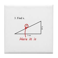 Find x Math Problem Tile Coaster