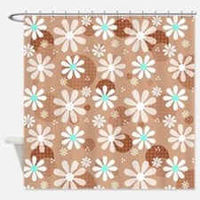 Retro Daisies Brown Polka Dots Shower Curtain
