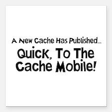 "Cache Mobile Square Car Magnet 3"" x 3"""