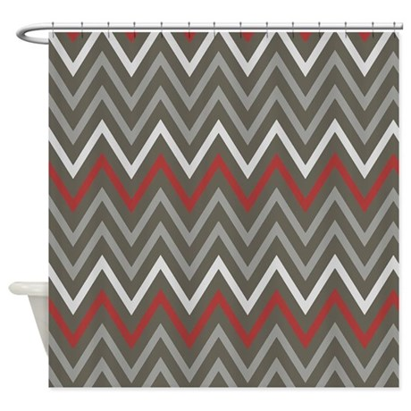 Masculine Gray Chevron Shower Curtain by chevroncitystripes