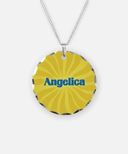 Angelica Sunburst Necklace Circle Charm
