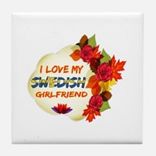 Swedish Girlfriend Valentine design Tile Coaster