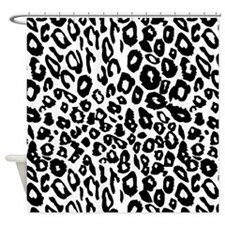 Black and White Leopard Print Shower Curtain
