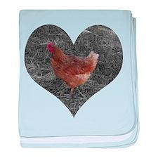 Chicken in a Heart baby blanket