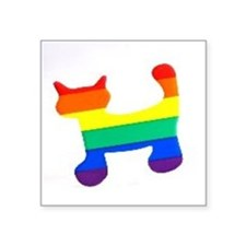 "Rainbow cat Square Sticker 3"" x 3"""