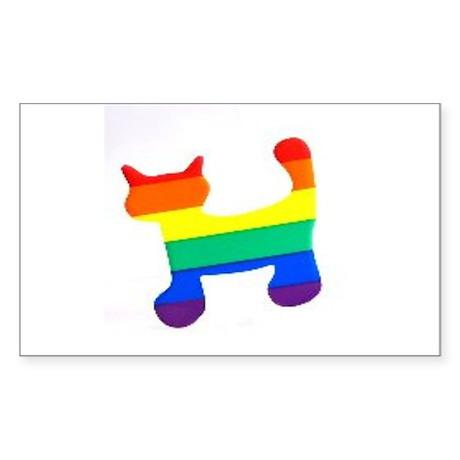 Rainbow cat Sticker (Rectangle)
