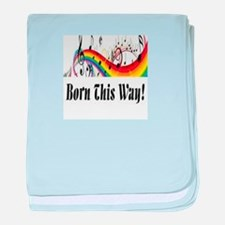 Rainbow born this way musical notes baby blanket