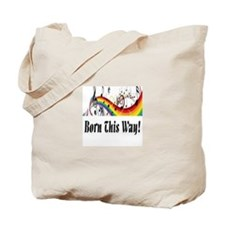 Rainbow born this way musical notes Tote Bag
