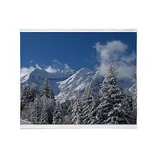 Mountain Ridge and Trees Throw Blanket