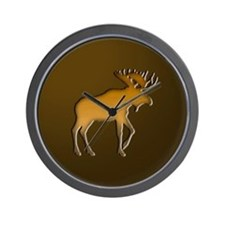 WoodenMooseonBrownSquare.png Wall Clock