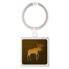 WoodenMooseonBrownSquare.png Square Keychain