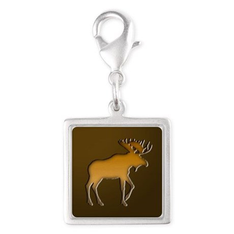 WoodenMooseonBrownSquare.png Silver Square Charm