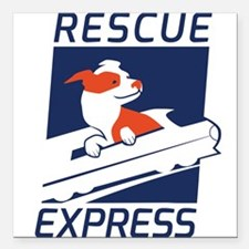 "Rescue Express Square Car Magnet 3"" x 3"""