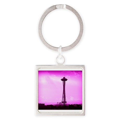 Space Needle Square Keychain