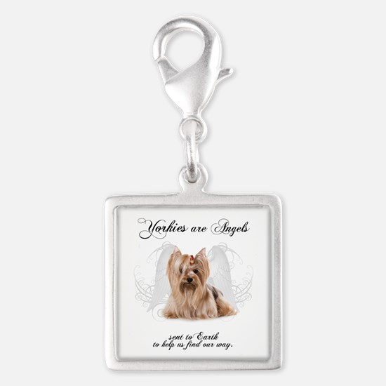 Angel Yorkie Silver Square Charm